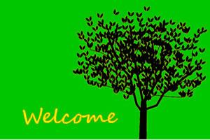 緑色の背景に大きな木が印象的なデザイン