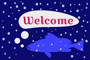 紺色の背景に深海魚のイラストを入れたデザイン