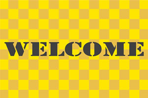 明るい黄色と濃い黄色のチェック柄のデザイン