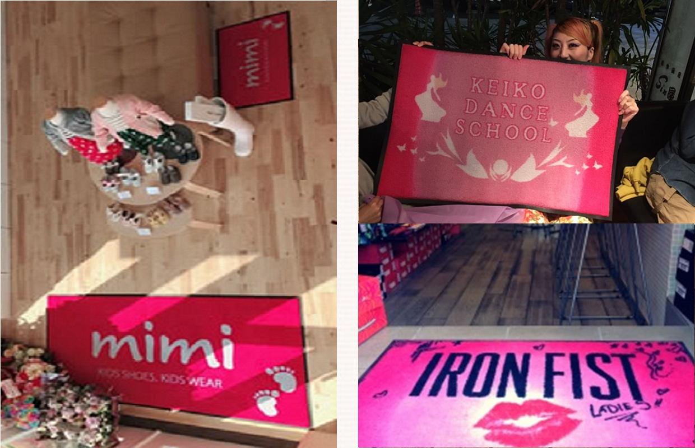 ピンクのオリジナル玄関マット 設置事例